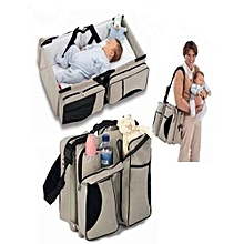 Baby Travel Bed & Magical Baby Bag- 4 in 1 Multifunctional Baby Travel Bed Cot Baby Bassinet and Diaper Bag - Cream and black