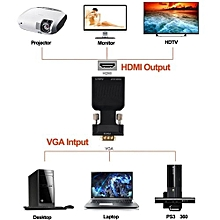 VGA To HDMI 1080P HD HDTV Video Stereo Audio Converter Box Adapter DVD PC Laptop