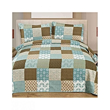 3 Piece Bed Cover Set – Queen Size  –   Blue Patchwork - 200GSM COTTON INSIDE, WITH FABRIC BAG.....