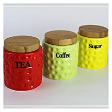 3 Pieces - Storage Canisters with Stand - Multi coloured