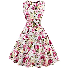 Floral Print Condol Belt Big Swing Dress