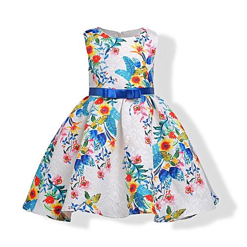 3c2cd094a190 Fashion Little Girls Dress, Sleeveless Cotton Country Flower Dress, Summer  Casual Dress For Toddler Girls-blue