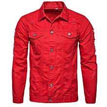 Mens' Autumn Winter Hole Long Sleeve Demin Jacket Tops Coat Outwear - Red
