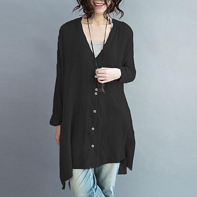 e26bb675 ZANZEA Women Oversized Cotton Linen Button V Neck Blusas Long Sleeve  Irregular Split Autumn Fashion Blouse