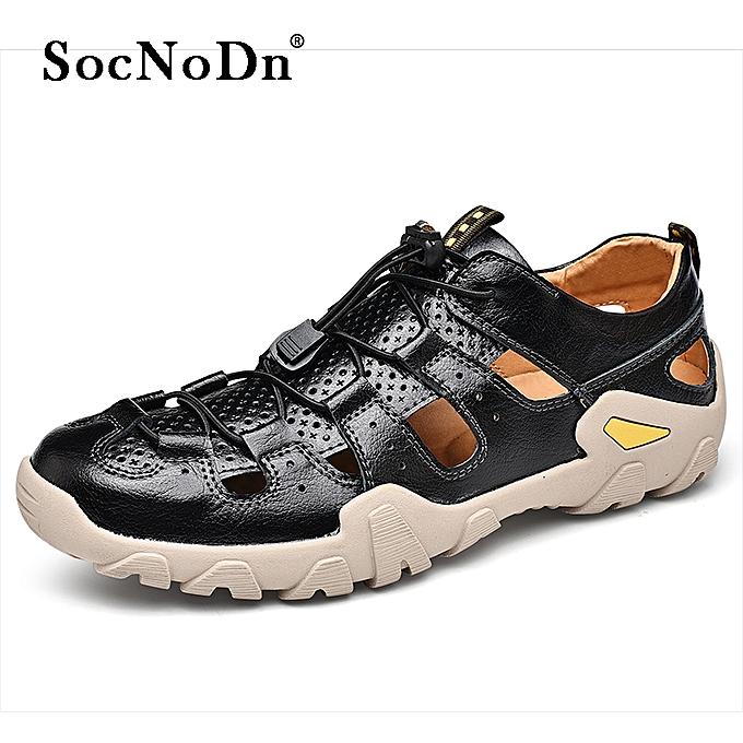 658cf6b9c SocNoDn Men Fashion Casual Leather Beach Sandals Shoes Black   Best ...