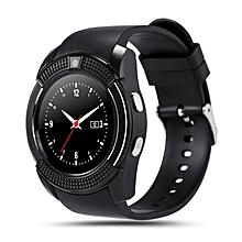 V8 Smart Wrist Watch Sleep Monitor Sports Pedometer Support SIM TF Card black