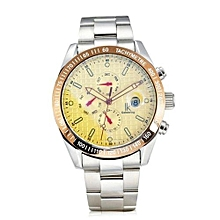 IK Colouring Men's Automatic Watch With Steel Bracelet And Calendar(Yellow)
