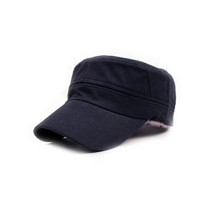 43f41617274 Classic Plain Vintage Army Military Cadet Style Cotton Cap Hat Adjustable NY