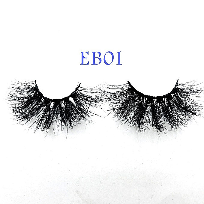New arrival mink lashes 25mm natural long 3D mink strip fur handmade  eyelashes wholesale price(EB05 only tray)