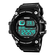 1229 Fashion Sports Men Watches Digital LED Military Casual Electronics Wristwatches - Black