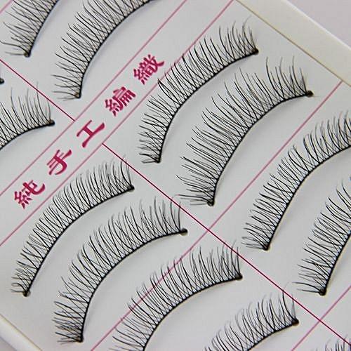 5e1314e26eb QIBEST bluerdream-10 Pairs Natural Fashion Eyelashes Eye Makeup Handmade  Long False Lashes Sparse- Black