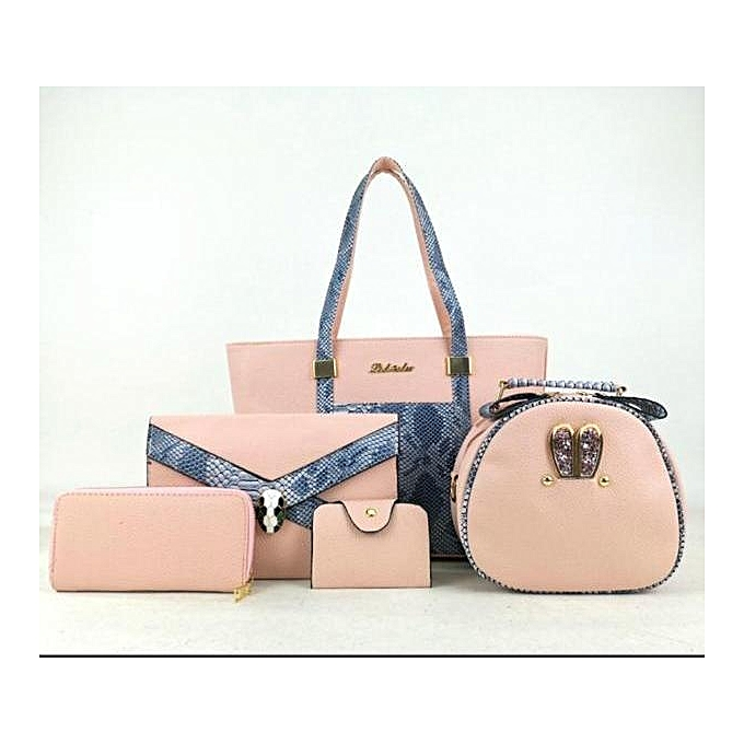 0ac79e80581298 Generic 5 in1 Classic Lady Synthetic Leather Handbags-Pink @ Best ...