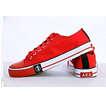Red Unisex Durable Lace-up Rubber Shoes