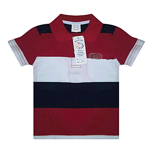 a046da8f5143 Buy Generic Red Polo T-Shirt with black and white stripes   Best ...
