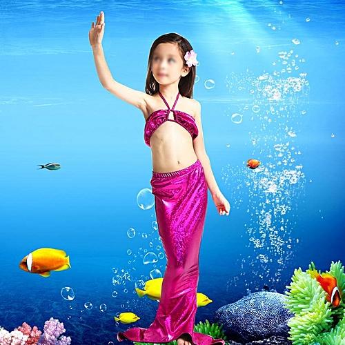 4c92f93b4d0 Generic 【Big Sale】Girls Kids Tail Swimmable Swimwear Bikini Set Swimming  Costume Swimsuit (Purple 100)