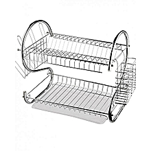Dish Rack 2 Tier, Modern Design  Stainless Steel, INCLUDES Cutlery Holder and Drain Board For Quick Utensils Drying.
