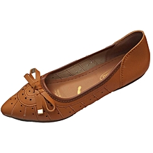 Women PU Leather Flat Shoes -  Brown