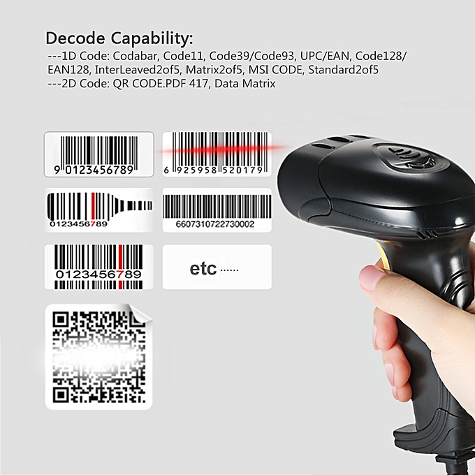 Handheld Wired QR Barcode Scanner 1D 2D USB CMOS Barcode Reader for Mobile  Payment Computer Screen Scanning Support QR PDF417 and Data Matrix Code
