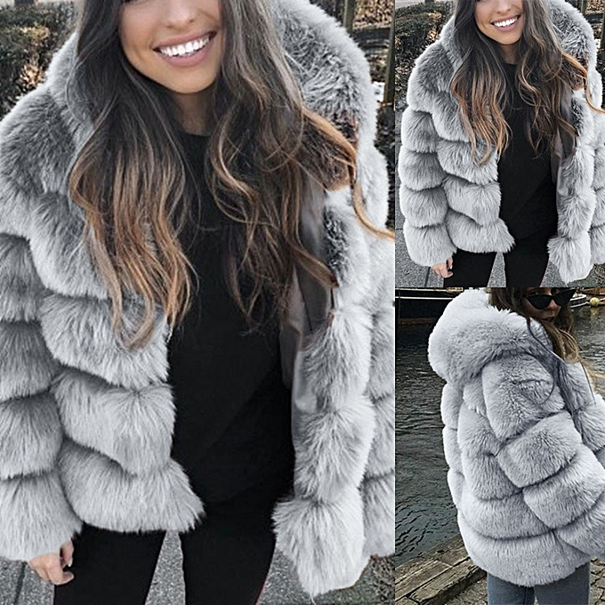 f8cff37e0d Women Faux Mink Winter Hooded 2019 Faux Fur Jacket Warm Thick Outerwear  Jacket