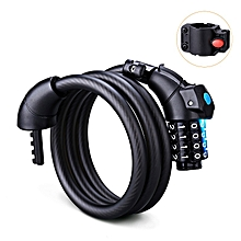 LED Light Bike Lock Cable 5-Feet - Black
