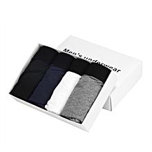 4pcs Men's Underwear Bulge Pouch Trunks Boxer Briefs Soft Shorts Underpants-(BLACK)