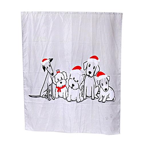 Custom Merry Christmas Fabric Waterproof Bathroom Shower Curtain F
