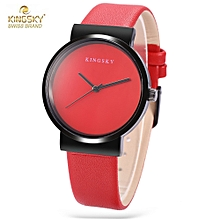 KINGSKY 371M Women Quartz Watch Concise Style Leather Band Daily Water Resistance Wristwatch