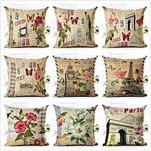 Honana Eiffel Tower Style Flowers Butterflies Pillow Case Cotton Linen Cushion Cover Home Sofa