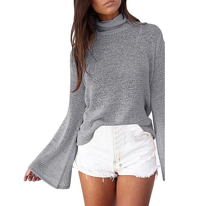 6fd2dc3b95 jiuhap store Women Turtleneck Long Sleeve Knit Pullover Loose Sweater  Jumper Tops Blouse GY L