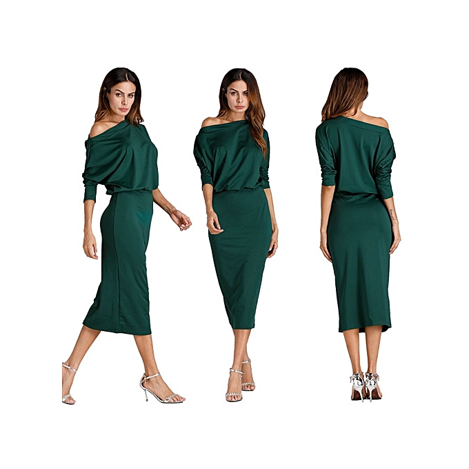 e5d6a8c5189 New autumn winter women Fashion sexy Inclined shoulder solid dress bodycon casual  nightclub party dress