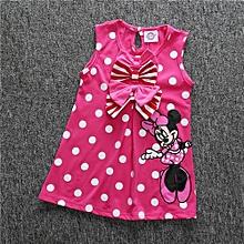 Comfortable  Korean Cartoon Dot Print Casual Dress Girl's Vest Skirt Dress