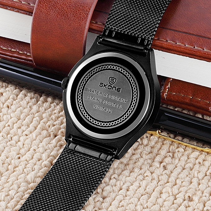 9497691bb29 SKONE 7432 Simple Men Watch Steel Mesh Strap Quartz Movement Watch  Waterproof Casual Clock Wristwatch for