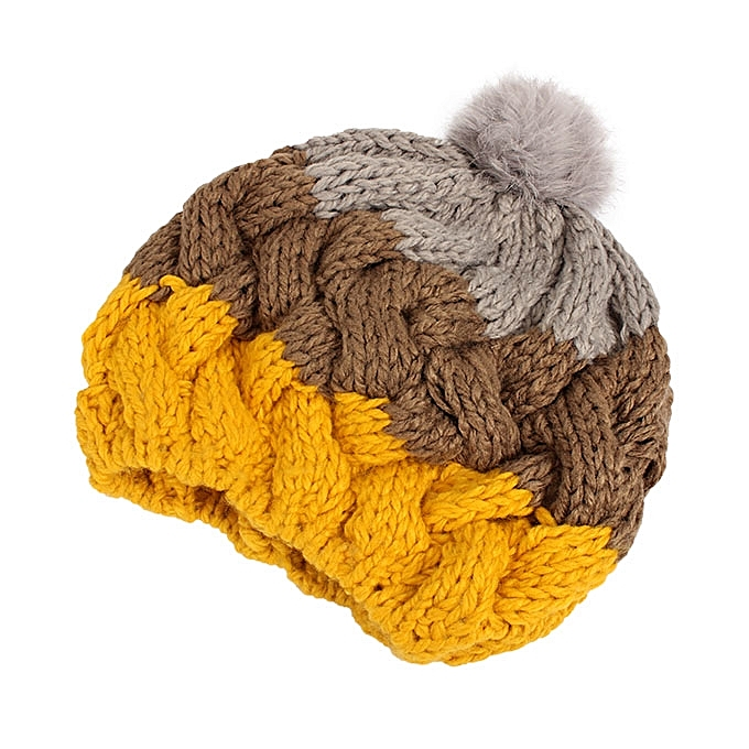 feac3b3d4f3 Women Female Knitted Flat Rabbit Fur Ball Beanie Hat Adjustable Elastic  Beret Cap