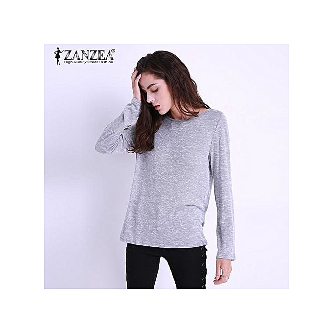 4f9db0c17198ff ZANZEA Plus Size Women Blouses Spring Casual Loose O Neck Long Sleeve Tops  Blouse Solid Color