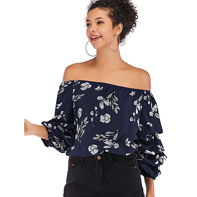5c67f684c176d ZAFUL Floral Printed Off Shoulder Blouse