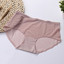 Mid Waist Solid Color Transparent Mesh Panties Seam Free Breathable Briefs