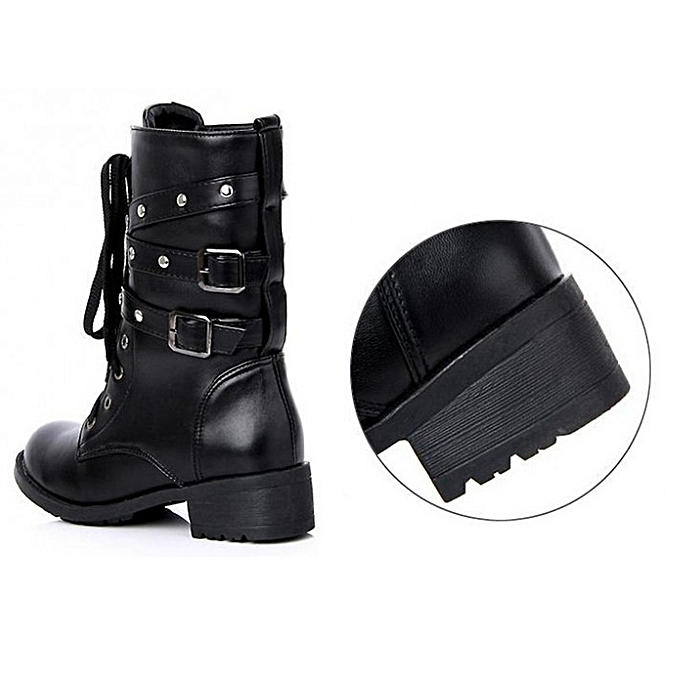 7990bc007 Fashion Black Punk Mid-calf Women Boots Spring Autumn All-match High Block  Heel