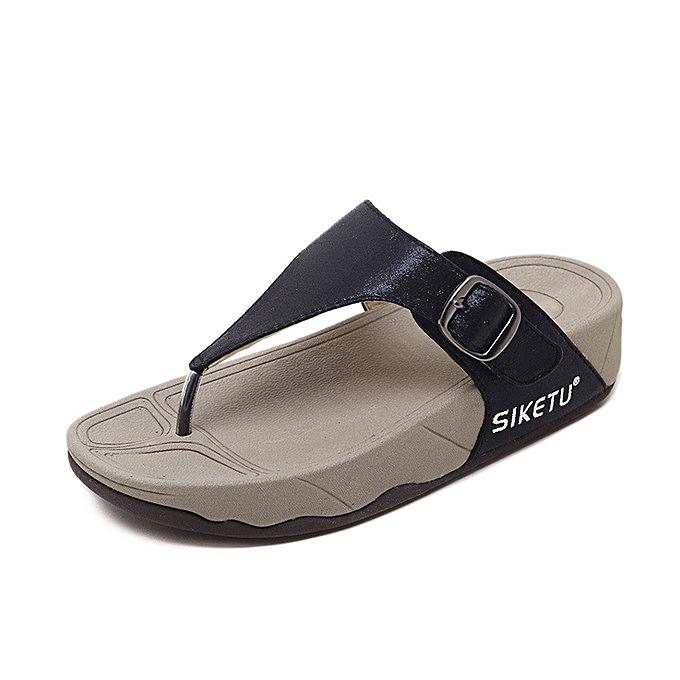 4a5eeebfaa8a Rifined Women Large Size Wedge slippers Casual buckle slope Female Sandals  Beach Flip Flops Lady Slippers