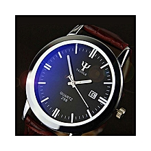 Man Leather Band Calendar Date Analog Quartz Waterproof Wrist Watch- Brown