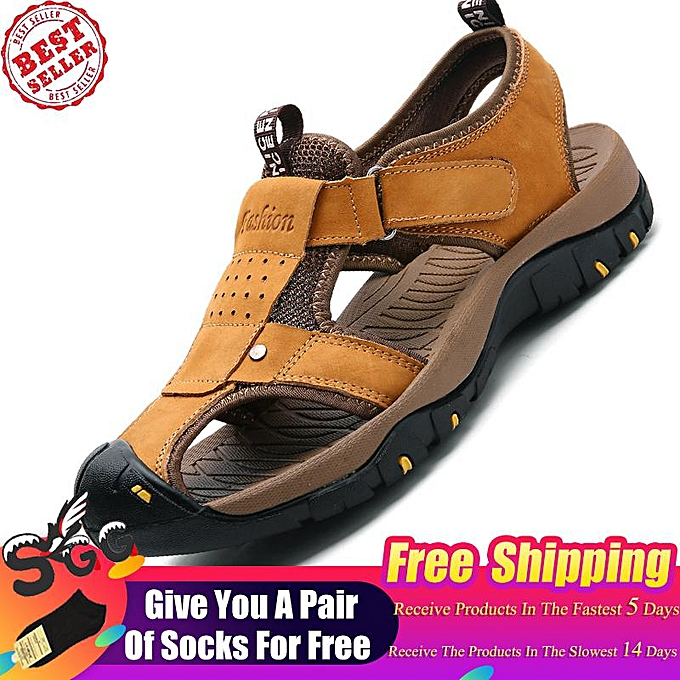 7ebb9057ef92 Free Shipping 2019 Fashion SGG Mens Sports Leather Sandals Outdoor Beach  Water Sandal Fisherman Athletics Shoes
