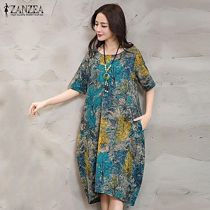 ZANZEA Women Dress Loose Vintage Retro Floral Print Short Sleeve Baggy Long  Robe Blue 170b8066e