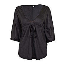 Black Casual Loose V-Neck Batwing Sleeved Blouse