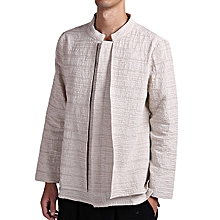Vintage Chinese Style Linen Casual Loose Spring Autumn Long Sleeve Shirts Coat for Men