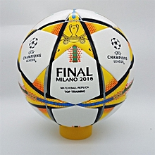 2015-16 profession Champions League Official size 5 Football ball Material PU Professional Match Training Soccer Ball Free Gas Needles and Net Bag (Milano 2016)