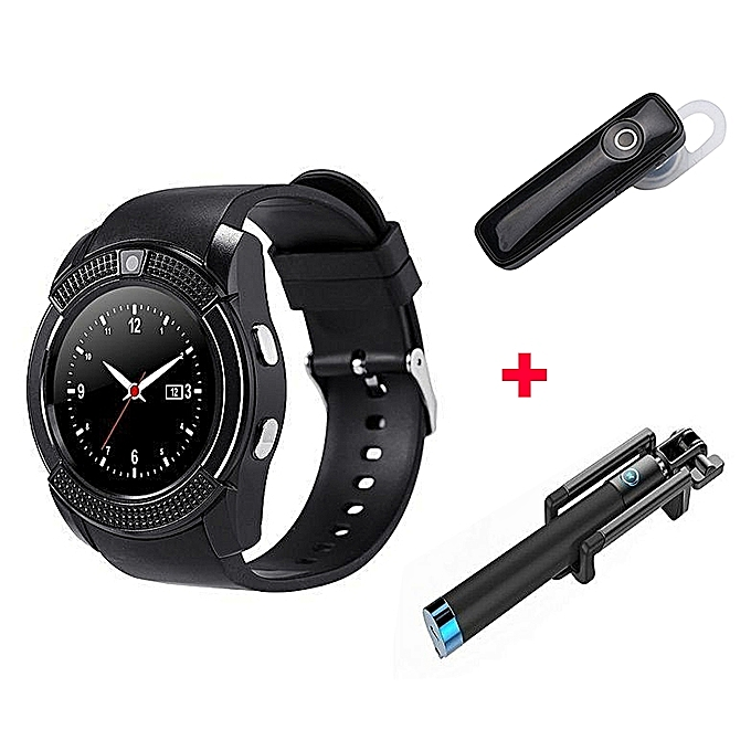 S006 Smart Berry Smart Watch plus Free bluetooth And Selfie Stick  - Black