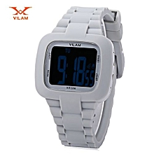 LED Digital Watch Alarm Date Day Chronograph 50m Water Resistance Sports Wristwatch-GRAY