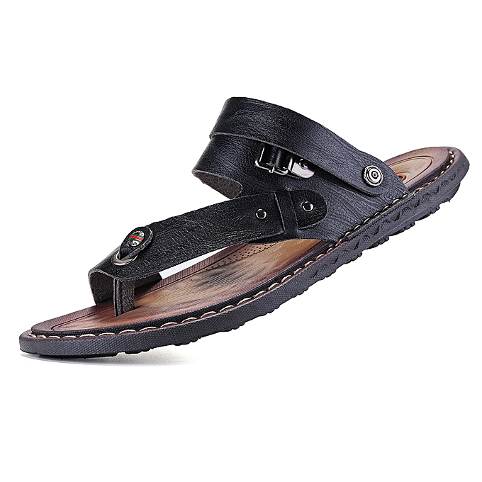 New Men/'s Leather Sandals Beach Slip On Flat Flip Shoes Summer Casual Slippers
