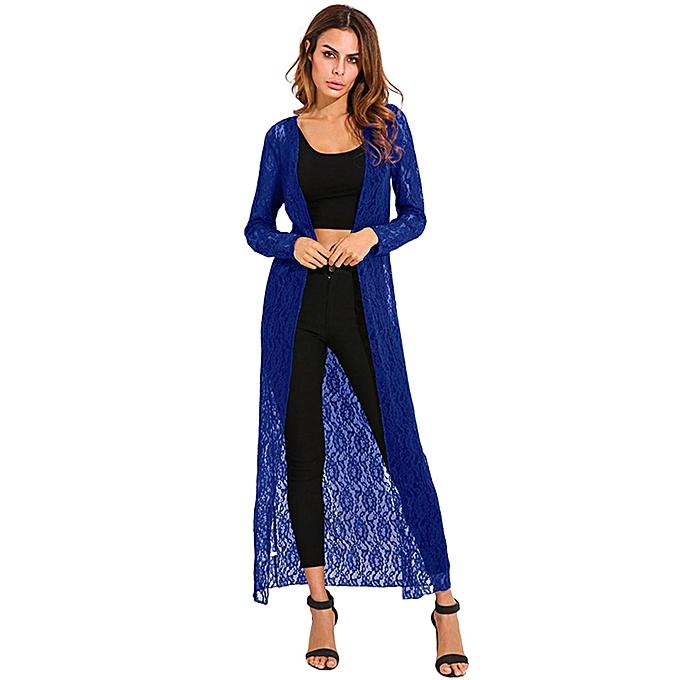 a85af68a108 ... Shirts Plus Size Royal Blue · ZANZEA Autumn Women Outerwear Lace Crochet  Kimono Cardigan Blusas Long Sleeve Casual Loose Long Tops Blouses