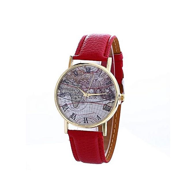 Fashion Fohting Map Pattern Fashion Women Colored PU Leather Watch ...