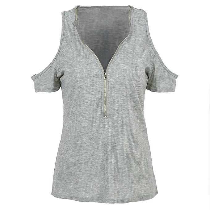 7fa8ba479ff95 Women T-shirt Solid Stretchy Ribbed Deep V Cold Shoulder Zipper Short  Sleeve Cut Out